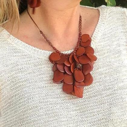 New! Brown Tagua Nut Statement Neck..