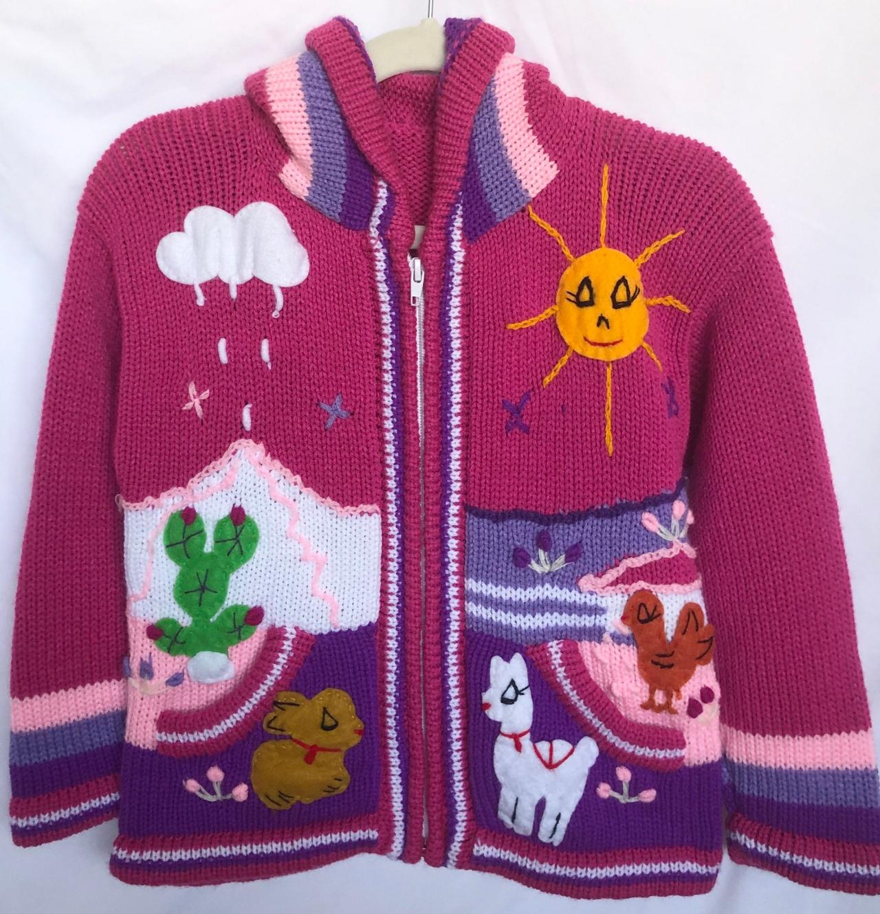 Size 6 Hooded Jacket, Magenta Jacket, Kids Jacket, Handmade Jacket, Knitwear Jacket, Children Sweater, Long Sleeve Jacket, Winter Jacket