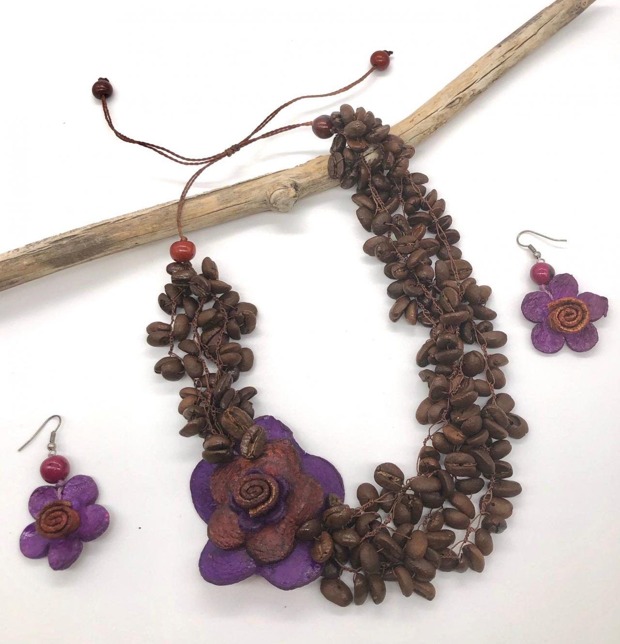 Purple Orange Peel Flower and Coffee Beans Necklace and Earrings, Statement Neck, Vegan Necklace, Strand Necklace, Handmade Necklace, Acai