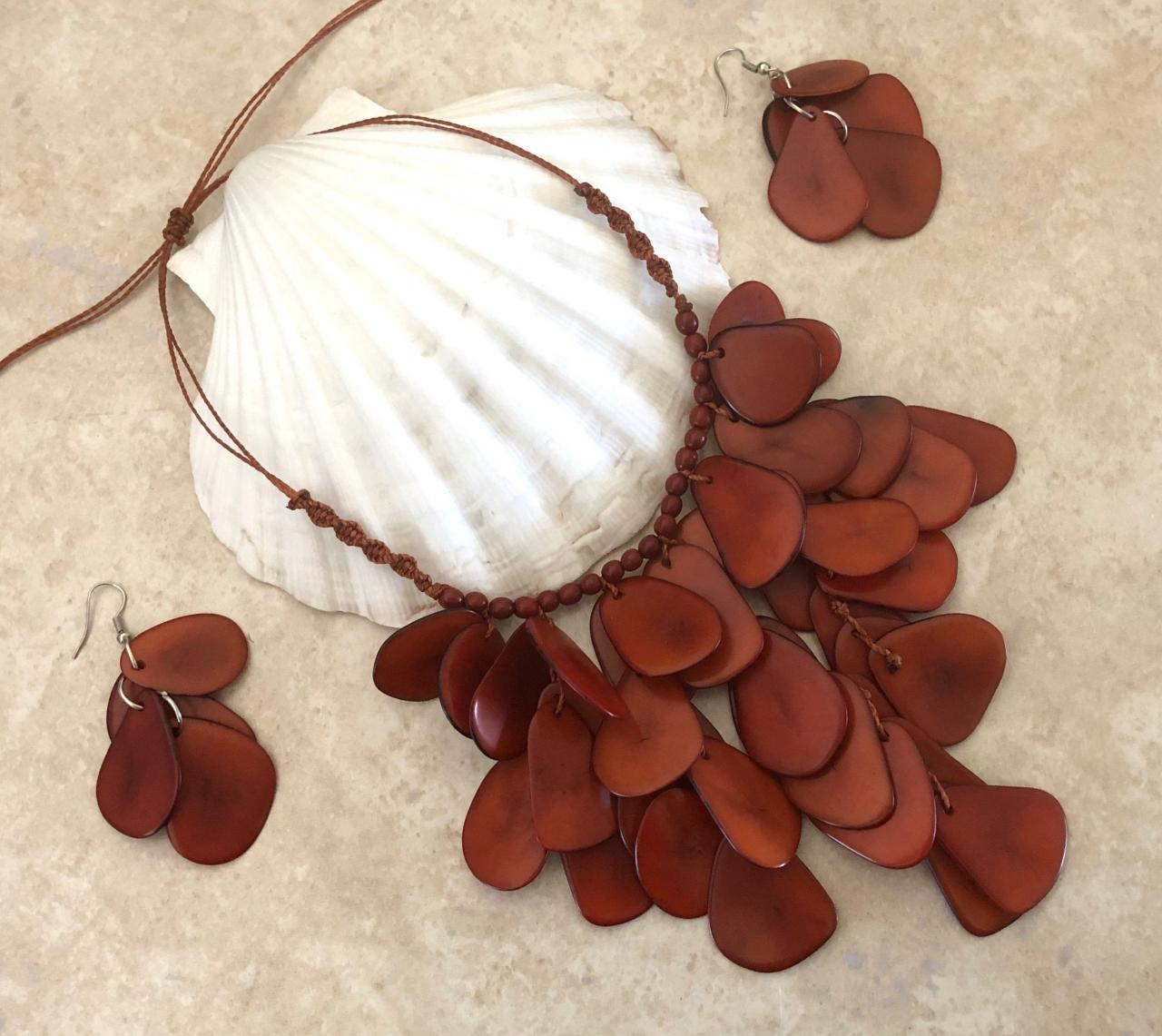 New! Brown Tagua Nut Statement Necklace and Earrings, Handmade Necklace, Seeds Necklace, Summery Necklace, Ethnic Necklace, Chunky Neck