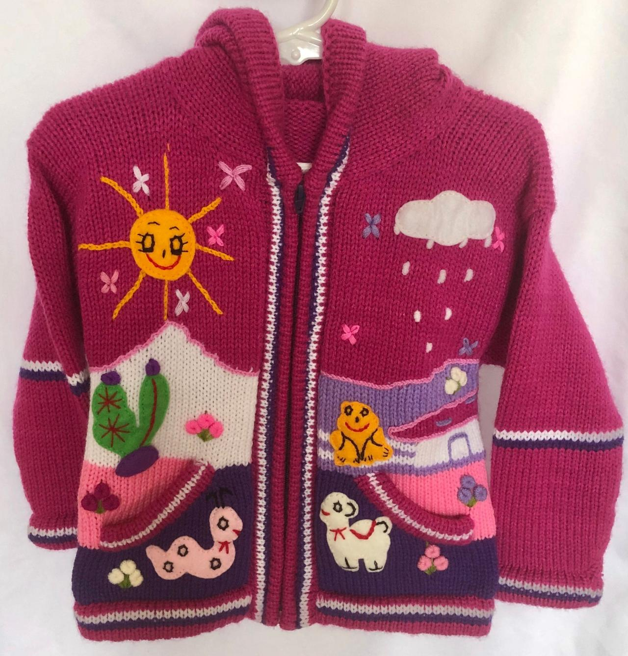 Size 4 Magenta Jacket, Hooded Jacket, Winter Jacket, Knitwear Jacket, Children Jacket, Boys Jacket, Girls Jacket, Handwoven Jacket