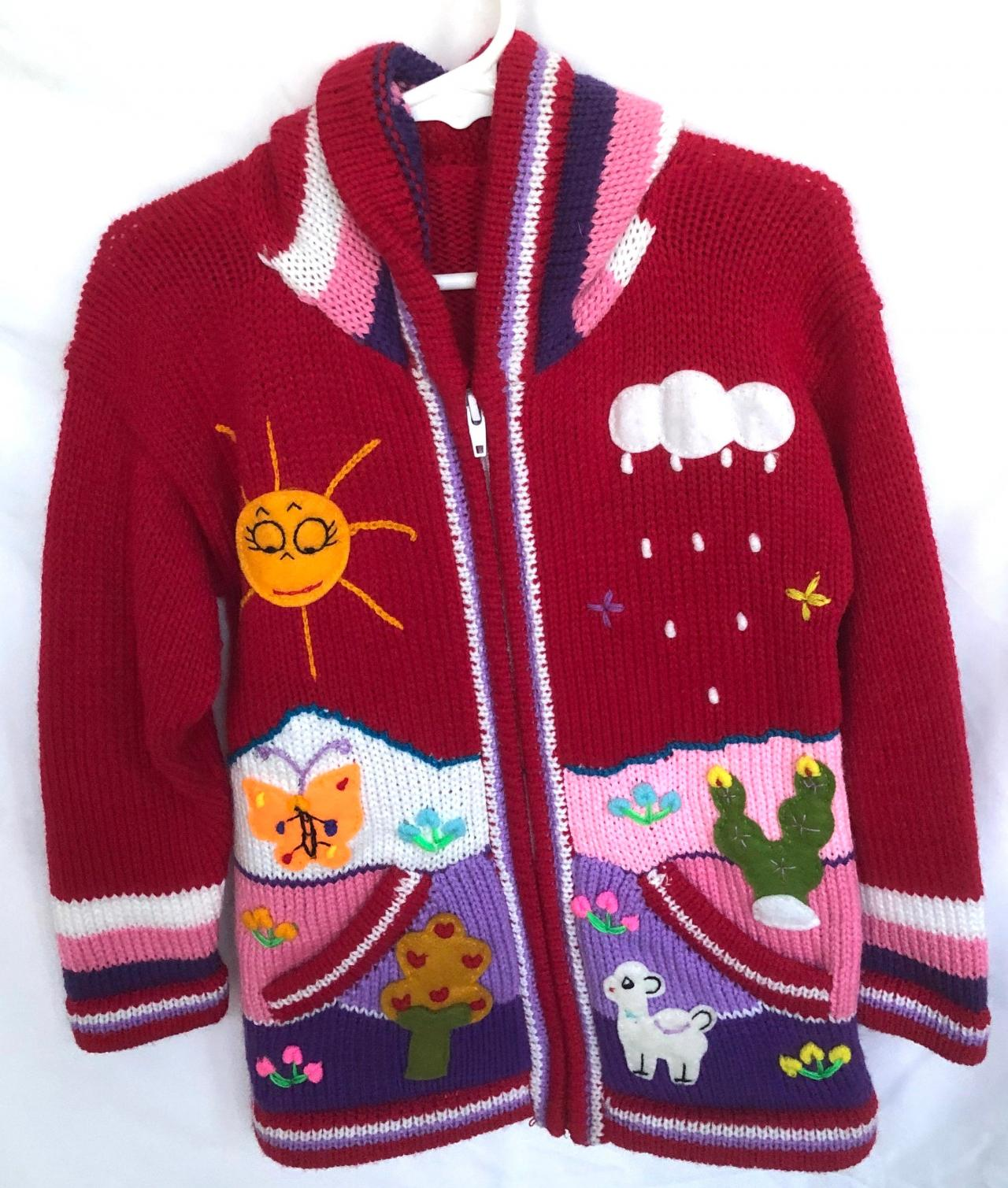 Size 8 Red Hooded Jacket,Girls Jacket,Handmade Jacket, Knitwear Jacket, Zipper Jacket, Long Sleeve Jacket, Children Jacket, Llama Jacket