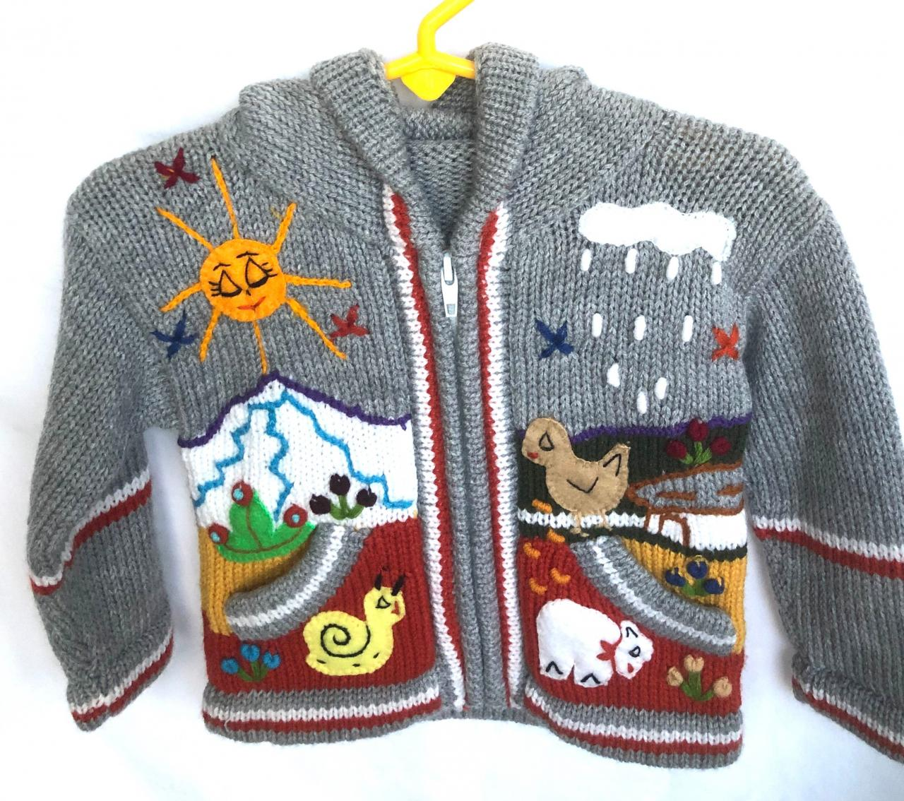 Size 0 Jacket, Kids Jacket, Grey Jacket, Toodler Jacket, Handmade Jacket, Hooded Jacket, Knitwear Jacket, Long Sleeve Jacket, Winter Jacket