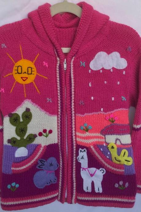 Size 6 Hooded Jacket, Pink Jacket, Kids Jacket, Handmade Jacket, Knitwear Jacket, Children Sweater, Long Sleeve Jacket, Winter Jacket