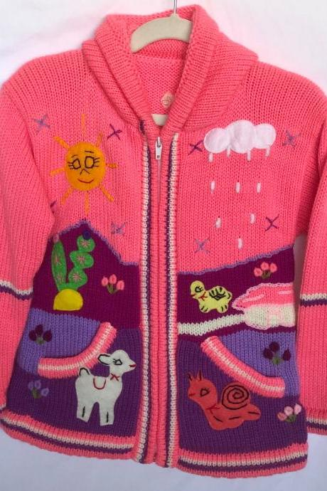Size 8 Hot Pink Hooded Jacket,Girls Jacket,Handmade Jacket, Knitwear Jacket, Long Sleeve Jacket, Children Jacket, Llama Jacket