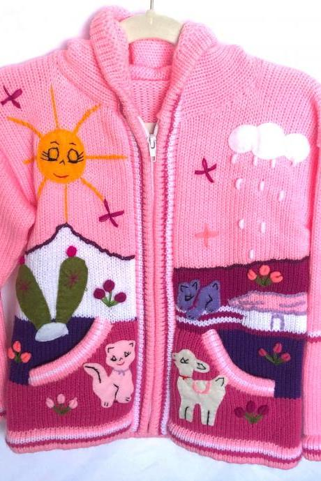Size 8 Pink Hooded Jacket,Girls Jacket,Handmade Jacket, Knitwear Jacket, Zipper Jacket, Long Sleeve Jacket, Children Jacket, Llama Jacket