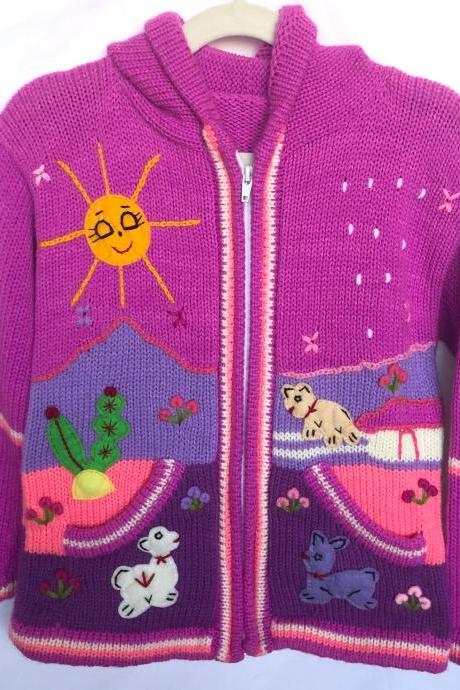 Size 8 Lilac Hooded Jacket,Girls Jacket,Handmade Jacket, Knitwear Jacket, Zipper Jacket, Long Sleeve Jacket, Children Jacket, Llama Jacket