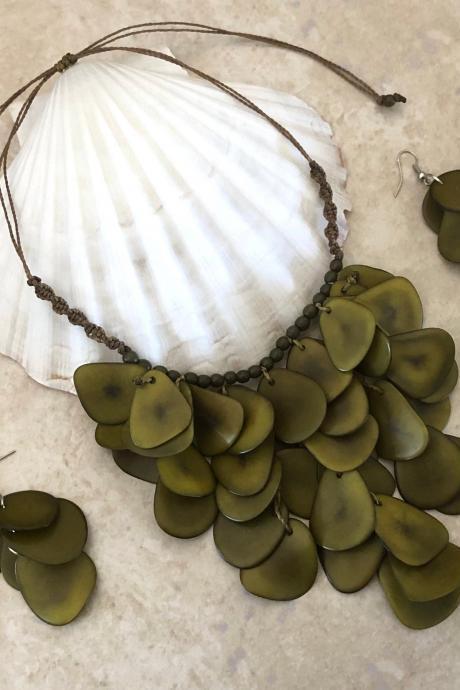 New! Olive Green Tagua Statement Necklace and Earrings, Handmade Necklace, Seeds Necklace, Summery Necklace, Ethnic Necklace, Chunky Neck