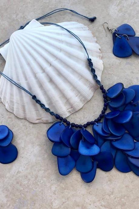 New! Blue Tagua Nut Statement Necklace and Earrings, Handmade Necklace, Seeds Necklace, Summery Necklace, Ethnic Necklace, Chunky Neck