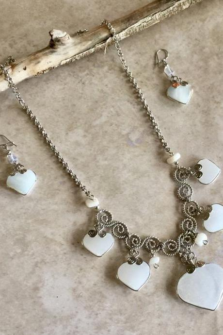 Peruvian Opal Necklace and Earrings,Heart Shape Necklace, Handmade Necklace, Romantic Necklace, Eco Friendly Necklace, Filigree Necklace