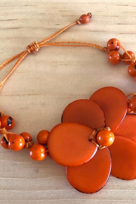 Orange Flower Tagua Nut Bracelet, Açaí Seeds Bracelet, Adjustable Bracelet, Vegan Bracelet, Handmade Bracelet, Statement Bracelet, Exotic