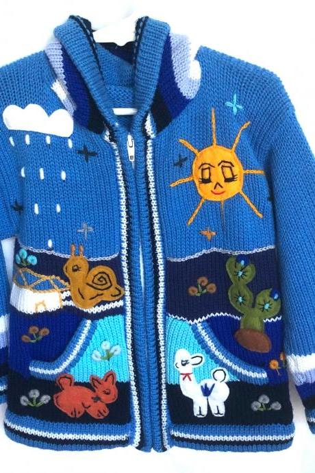 Size 6 Hooded Jacket, Kids Jacket, Blue Jacket,Kids Sweater, Winter Jacket, Knitwear Jacket, Long Sleeve Jacket, Handmade Jacket, Girls Boys