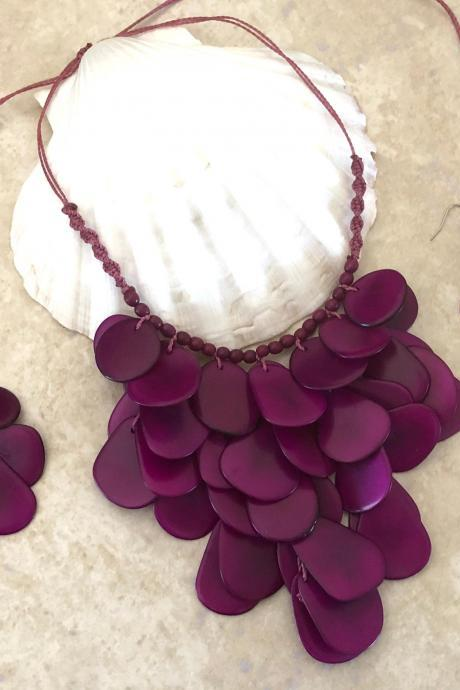 New! Plum Tagua Nut Statement Necklace and Earrings, Handmade Necklace, Seeds Necklace, Summery Necklace, Ethnic Necklace, Chunky Neck