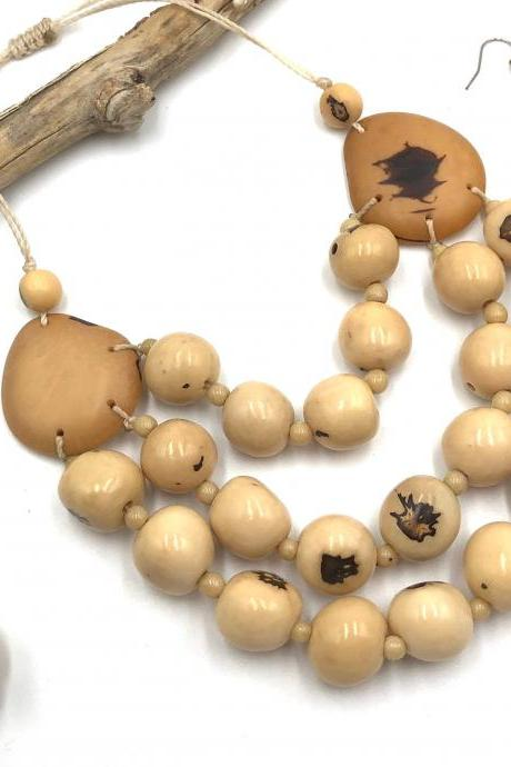 Ivory Necklace and Earrings, Layer Necklace, Bib Necklace, Statement Necklace, Tagua Necklace, Seed Necklace, Bombona Necklace, Handmade