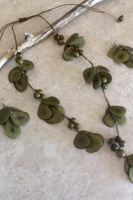 Olive Green Necklace and Earrings, Handmade Necklace, Long Necklace, Ecofriendly Necklace, Statement Necklace, Seeds Necklace, Summer
