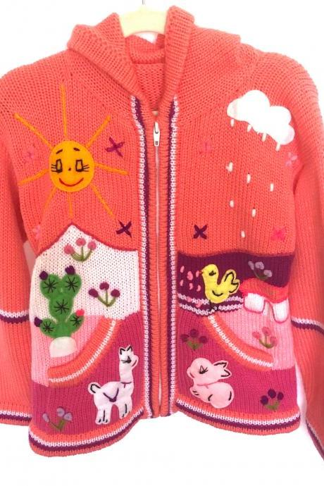 Size 8 Salmon Hooded Jacket,Girls Jacket,Handmade Jacket, Knitwear Jacket, Zipper Jacket, Long Sleeve Jacket, Children Jacket, Llama Jacket
