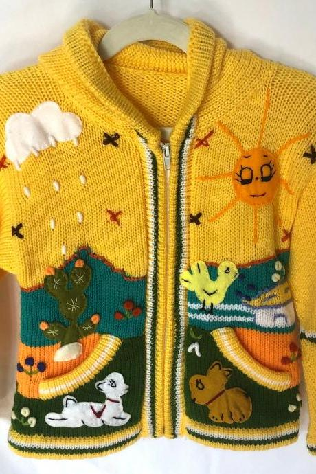Size 6 Yellow Hooded Jacket, Girls Jacket, Winter Jacket, Zipper Jacket, Knitwear Jacket, Kids Jacket, Wool Sheep Jacket, Long Sleeve