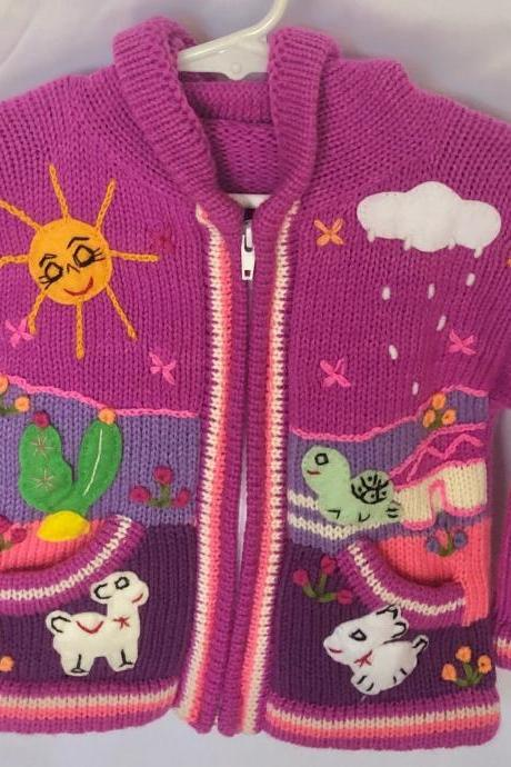 Size 2 Lilac Hooded Jacket, Jacket, Girls Jacket, Toodler Jacket, Winter Jacket, Handmade Jacket, Embroidered Jacket, Children Sweater