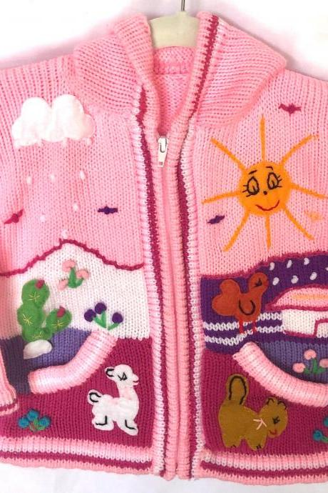 Size 2 Pink Hooded Jacket, Jacket, Girls Jacket, Toodler Jacket, Winter Jacket, Handmade Jacket, Embroidered Jacket, Children Sweater