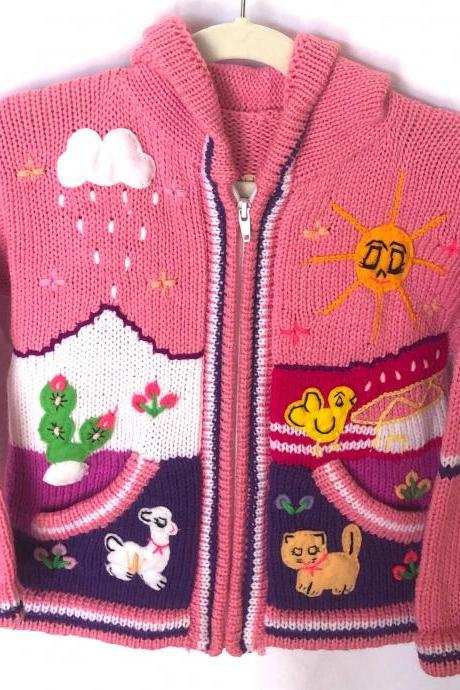 Size 4 Pink Jacket, Hooded Jacket, Winter Jacket, Knitwear Jacket, Children Jacket, Boys Jacket, Girls Jacket, Handwoven Jacket
