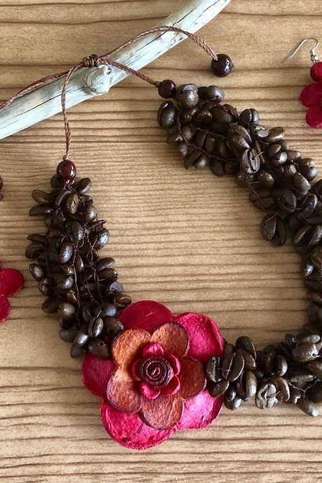 Red Necklace and Earrings, Orange Peel Necklace, Coffee Beans Necklace, Statement Necklaces, Strand Necklace, Layer Necklace, Flower