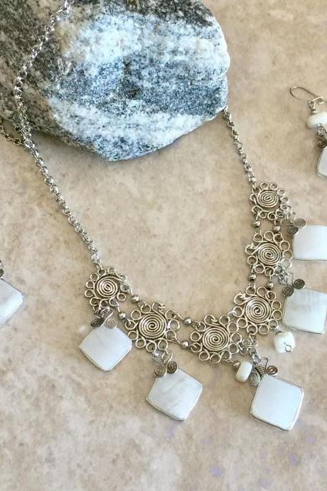Peruvian Opal Necklace, Diamond Shape Necklace, Geometric Necklace, White Necklace, Alpaca Silver Necklace, Handmade Necklace, Ethnic Neck