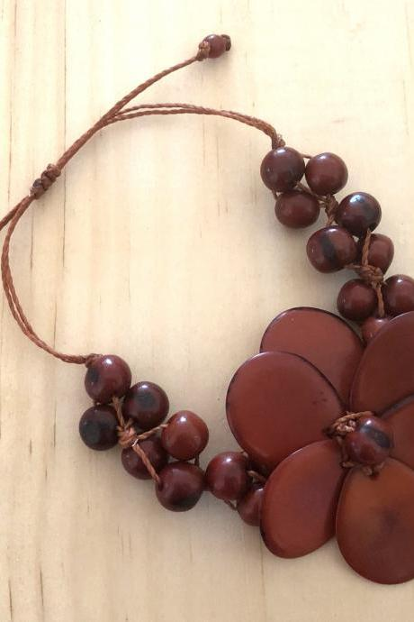 Brown Flower Tagua Bracelet, Açaí Seeds Bracelet, Adjustable Bracelet, Vegan Bracelet, Handmade Bracelet, Statement Bracelet, Exotic