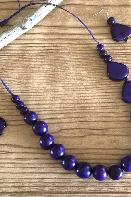Purple Bombona and Tagua Nut Necklace Earrings,Statement Necklace,Long Necklace, Chunky, Vegan Necklace, Exotic